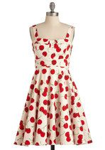 Pull Up a Cherry Dress in White | Mod Retro Vintage Dresses | ModCloth.com