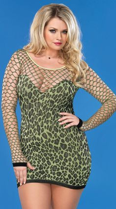 Plus Size Green Leopard Dress with Diamond Net Sleeves and Neckline