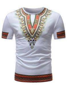 Ericdress Dashiki African Printed Slim Mens Short Sleeve T Shirt African Dashiki Shirt, African Shirts, Mens Casual T Shirts, Men Casual, Moda Afro, African American Fashion, African Clothing For Men, Blazer Fashion, Fashion Design