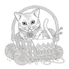 Vektor: adorable kitty coloring page