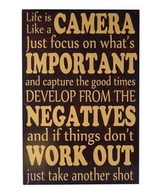 Another great find on #zulily! 'Life Is Like a Camera' Wall Art by Cheung's Rattan Imports #zulilyfinds
