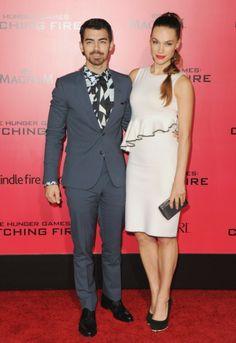 Joe Jonas and girlfriend Blanda Eggenschwiler attend The Hunger Games: Catching Fire premiere in Los Angeles.