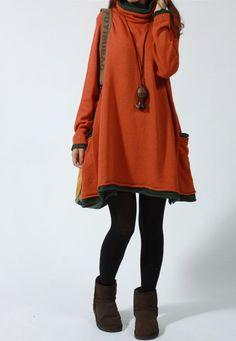 Orange sweater dress Knitwear wool dress large knitted sweater long women sweater dress plus size sweater cotton sark blouse wool tops