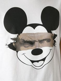 Neil Barrett Mickey Mouse Print T-shirt - Tessabit - Farfetc Tee Design, Shirt Print Design, Shirt Designs, T Shirt Print, Mickey Mouse, Graffiti, White Cotton T Shirts, Street Art, Graphic Tees