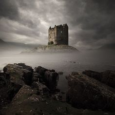 "Island fortress, Castle Stalker in Scotland (was featured in comedy film, ""Monty Python and the Holy Grail"" during final scenes.)"