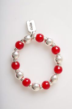 Ciclon Silver Red Elasticated Balls Bracelet - £35