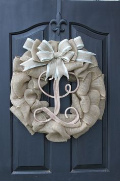 Burlap Wreath - Etsy Wreath -Wreaths - Summer wreaths for door  - Door Wreath - Monogram wreath