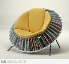 A Papasan chair with a full 360 compartment for books, magazines, etc. Never before have I wanted a chair so much....
