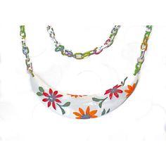 Flower Necklace, Garden Necklace, Garden Of Flowers, Flower Pendant,... (€38) via Polyvore featuring jewelry, necklaces, flower jewellery, multicolor necklace, flower jewelry, blossom necklace and tri color jewelry