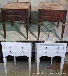 #Antique end tables go from rough shape to perfect condition