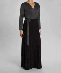 Charcoal & Black Surplice Maxi Dress