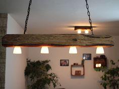 Hängelampe, Deckenlampe, Lampe, rustikal, Holz, Holzbalken, LED, vintage,shabby