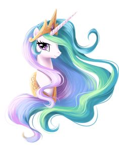 Celestia Portrait by fantazyme.deviantart.com ||| My Little Pony: Friendship is Magic, alicorn princess, unicorn, pegasus