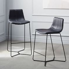 """Slope Leather Bar + Counter Stools #westelm, Overall product dimensions: 20.2""""w x 18.5""""d x 36.2""""h. Seat height: 26"""". Back height: 16"""", $429"""