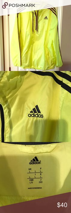 Adidas Windbreaker Size Large Adidas Windbreaker - size Large -highlighter yellow - light wear minor stains but lots of life left !! - comes from smoke free home Adidas Jackets & Coats Windbreakers