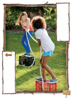 """FamilyFun - June/July 2012 - Page 62-63. """"Stumps"""" outdoor game - tug of war on a milk crate. First to step off crate loses. More strategy than regular TOW."""