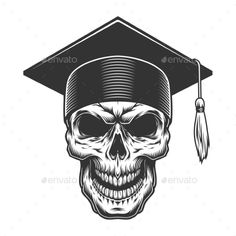Buy Skull in the Graduate Hat by imogi on GraphicRiver. Skull in the graduate hat. Illustration Story, Skull Illustration, Demon Drawings, Emo Wallpaper, Baby Month Stickers, Sports Graphic Design, Congratulations Graduate, Graduation Diy, Unique Poster