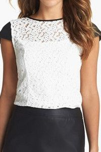 Kensie Lace & Faux Leather Top