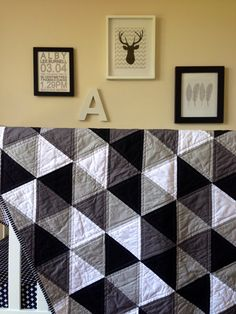 Geometric Triangle Monochrome Cot Quilt Grey Black by RosaleesRoom