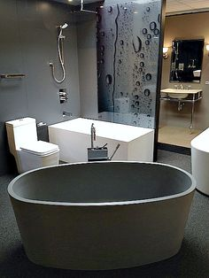 Blu-stone freestanding bathtub is an eco-friendly stone composite tub, exclusively crafted by Blu Bathworks. Ideally proportioned for smaller spaces such as condo bathrooms, holding an impressive 79G! Come into our showroom kick of your shoes and jump into it for yourself. http://bit.ly/1w9NSvi