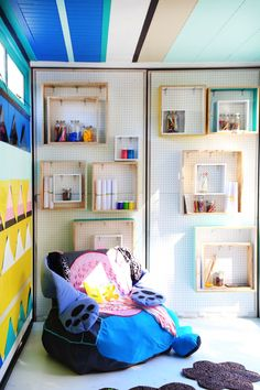 STORAGE is crafted using simple OSB board made into boxes and hung on hooks over a peg board to make adjustable versatile storage areas. Osb Board, Power Colors, Cecile, Elle Decor, Amazing Architecture, Pop Up, Decoration, Gallery Wall, Texture