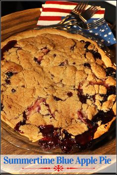 Today for #SummerDessertWeek I am sharing my version of author Joanne Fluke's Summertime Blue Apple Pie. This patriotic crumble topped fruit pie is delicious served warm with a scoop of ice cream on the side!