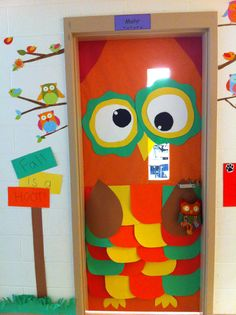 """Fall is a Hoot! Owl fall classroom door decor! Maybe turn into a reading display... """"who wants to read these new books?"""""""