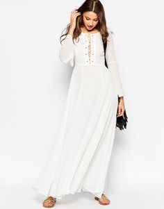 Image 4 ofGlamorous Tall Bell Sleeve Lace Up Maxi Dress