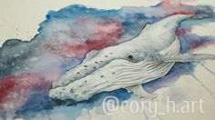 Galaxy Whale. watercolor by Cory McNelia, you can find and buy my prints on Etsy or contact me directly at corymcnelia@gmail.com and check out my Instagram page at @cory_h.art