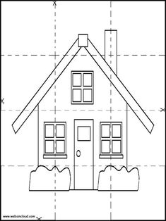 Houses 12 Printable Jigsaw to cut out 4 pieces. Activities for kids Preschool Learning Activities, Preschool Worksheets, House Drawing For Kids, Busy Boxes, Printable Activities For Kids, In This House We, Classroom Crafts, Math For Kids, Kids House