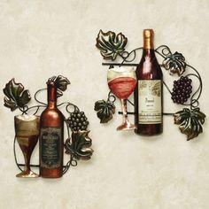 Wine Bottle Wall Decor wine bottle metal wall art #wine theme decorating   vineyard decor