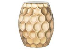 Ava Honeycomb Side Table, Gold
