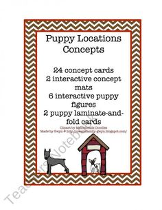 Puppy Location Concepts product from Preschool-Printable on TeachersNotebook.com