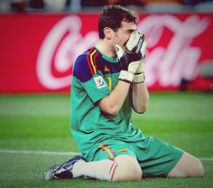 Iker Casillas, Spain, on his knees crying after seeing Andres Iniesta score against Netherlands in the World Cup Final 2010