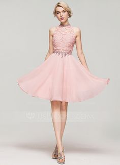 A-Line/Princess High Neck Knee-Length Beading Sequins Zipper Up Regular Straps Sleeveless No Pearl Pink Spring Summer Fall General Plus Chiffon Cocktail Dress