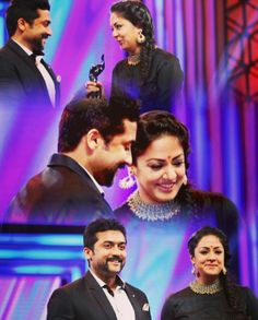#Jo with the #blacklady on one hand and her bae husband on the other side..   What an amazing moment!!  #jyotika #suriya #filmfaresouth