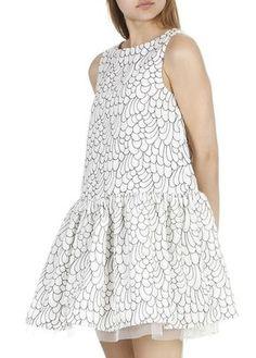 Robe sans manches brodé lurex Blanc by MAJE