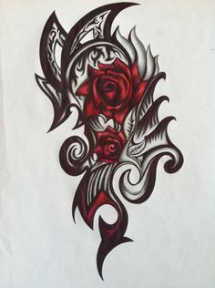 This was done with a red pen, a black pen, and a pencil. Although i really like this one, its not originally mine it is a copy of a design done by patrike, who is a deviant,, (i believe he did the ...