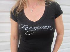 Sparkle Tshirt, Create Your Own, Bling Tee, Forgiven, Christian Shirt, Religious Gift, Rhinestone Tshirts. $35.00, via Etsy.
