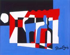 Stuart Davis (American, 1892–1964)  The Outside, 1955  Oil on linen  14 x 18 1/4 in. (35.56 x 46.36 cm)  Gift of Mrs. Harry Lynde Bradley M1961.83   Photo creditJohn R. Glembin  © Estate of Stuart Davis/Licensed by VAGA, New York, NY