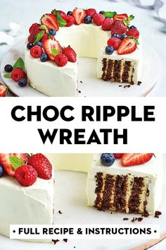 For a simple Christmas dessert that looks spectacular you can't go past our choc ripple Christmas wreath topped with fresh in-season berries Mini Desserts, Christmas Desserts Easy, Christmas Snacks, Xmas Food, Christmas Cooking, Easy Desserts, Delicious Desserts, Yummy Food, Simple Christmas
