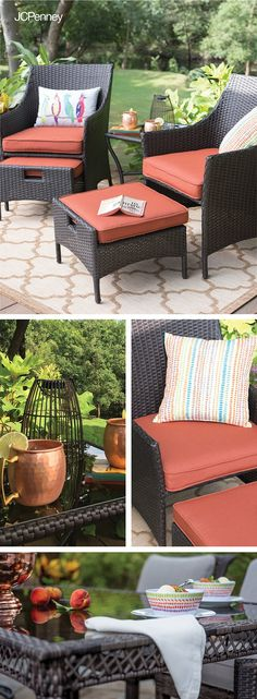 Warm weather calls for outdoor fun! With lounge seating, tables and décor, it's easier than ever to create an outdoor living space of your dreams. Perk up your back porch with comfortable patio furniture and bright cushions. Finish the look with all-weather extras, like outdoor pillows and citronella candles. Shop JCPenney for all of your outdoor patio furniture needs.