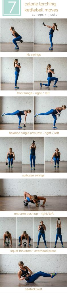 7 calorie torching kettlebell moves + hiit workout | torch calories while simultaneously strengthening your entire body with this killer kettlebell workout. do it reps + sets style or amrap style; either way it's an effective, high intensity 20-minute workout! | www.nourishmovelove.com