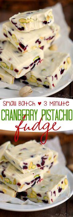 Small Batch 3 Minute Cranberry Pistachio Fudge on MyRecipeMagic.com