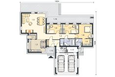 Rzut kondygnacji Parter - projekt Nokia II Floor Plans, Diagram, Projects, Floor Plan Drawing, House Floor Plans