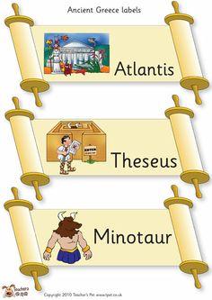 Teacher's Pet - Ancient Greek scrolls - FREE Classroom Display Resource - EYFS, KS1, KS2, ancient, Greece, greeks, Zeus, scroll