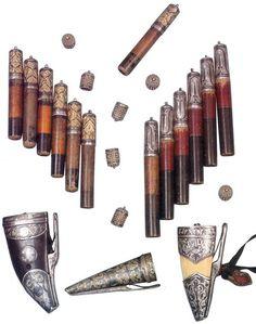 Circassian, Cherkess Gazir Cartridges and Flasks for gun powder