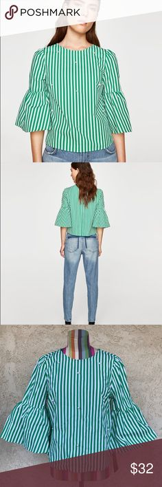 """ZARA Poplin Top with Faux Pearls Green and white striped top with faux pearls detail.   Length: 22"""" Pit to pit: 19.5"""" Zara Tops Blouses"""