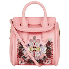 Alexander McQueen Mini Heroine Silk Embellished Bag ($1,995) ❤ liked on Polyvore featuring bags, handbags, alexander mcqueen handbags, structured purse, embellished purses, miniature purse and sparkly purses