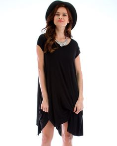 Raw Edge Over-Sized T-Shirt Dress In Black